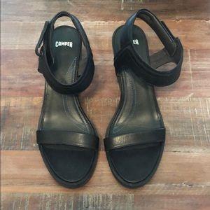 Camper black sandals